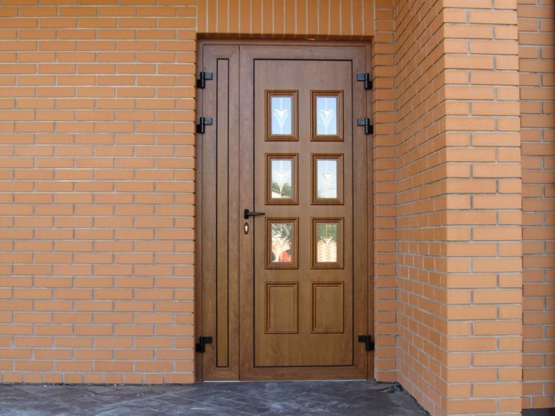 Входная металлопластиковая дверь в частный дом фото